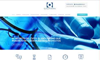 Web corporativa Qualipharma. Plataforma Wordpress responsive.