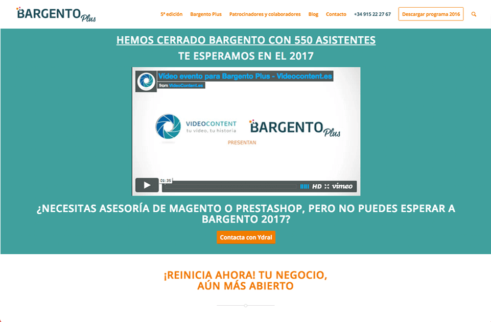 Web corporativa Bargento Plus. Plataforma Wordpress responsive.
